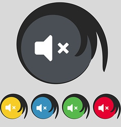 Mute speaker sound icon sign symbol on five vector