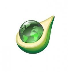 Globe in avocado vector