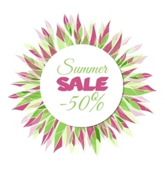 Summer sale floral frame vector