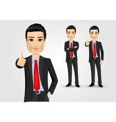 Business man giving thumbs up vector