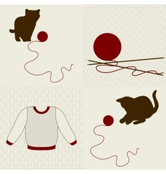 Wool objects kittens and seamless backgrounds set vector