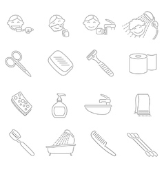 Hygiene icons outline vector