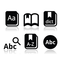 Dictionary book icons set vector