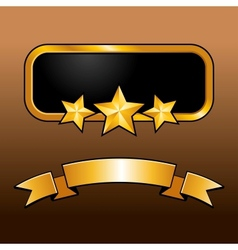 Shiny golden label with star and ribbon vector