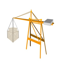 Two shipping box being hoisted by a crane vector