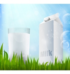 Fresh milk in a glass container of milk vector