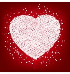 Weaving white heart card vector