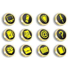 Golden web icon set vector