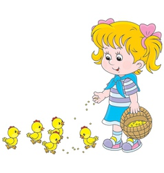 Girl feeds chicks vector