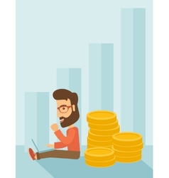 Businessman is sitting with pile of gold coins on vector