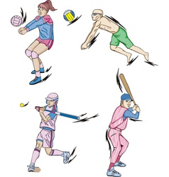 Team sports volleyball indoor and beach and vector