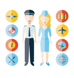 Pilot stewardess and icons vector