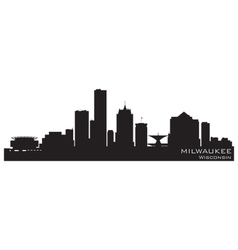 Milwaukee wisconsin skyline detailed silhouette vector