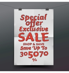 Sale poster with percent discount vector