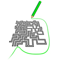 Maze and a pencil vector