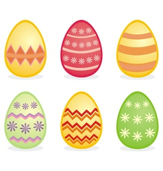 Colorful easter eggs isolated on white background vector