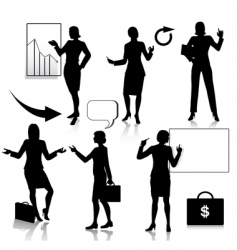 Business women silhouettes set vector