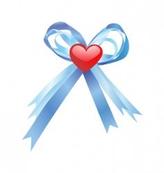 Blue bow and red heart vector