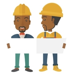 Two black architects wearing protection helmets vector