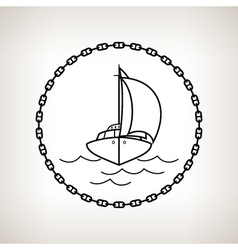 Silhouette yacht on a light background vector