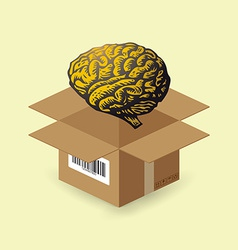 Brain in paper box vector