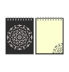 Spiral black cover notebook with round ornate vector