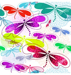 Pattern with vivid translucent dragonflies vector