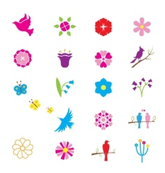 Flowers and birds icons vector