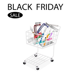 Builder tools in black friday shopping cart vector