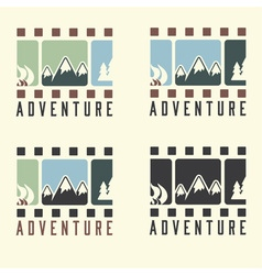 Adventure film tape vintage set vector