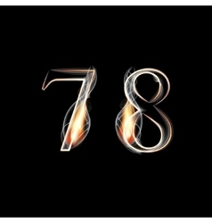 Fire and smoke font numbers 7 8 vector