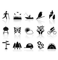 Black park and garden icons set vector