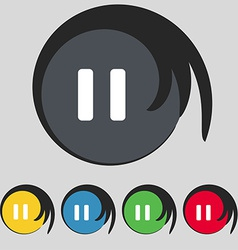 Pause icon sign symbol on five colored buttons vector