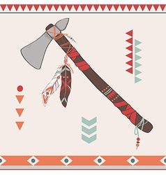 Native american indian tomahawk vector