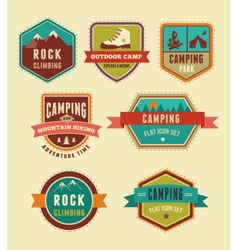 Hiking camp badges - set of icons and elements vector