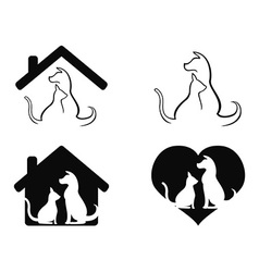 Dog and cat pet caring symbol vector