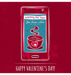 Red valentine card with smart phone vector