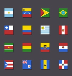 South america flag icon set metro style vector