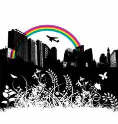 Floral city rainbow plane vector