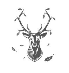 Deer head with oak leaves vector