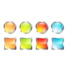 Glossy web button set vector