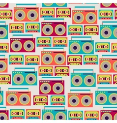 Seamless pattern with tape recorders and audio vector