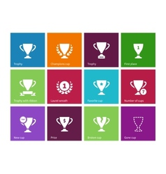 Trophy cup icons on color background vector