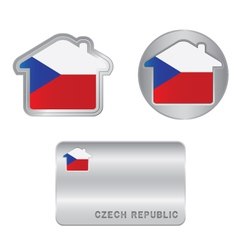 Home icon on the czech republic flag vector
