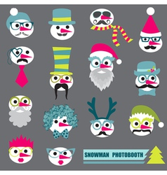 Photobooth snowman party set vector