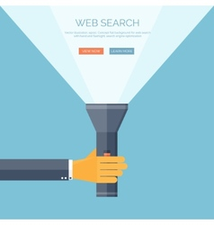 Flat flashlight and hand web vector