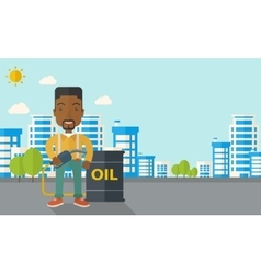 African businessman with oil can and pump vector