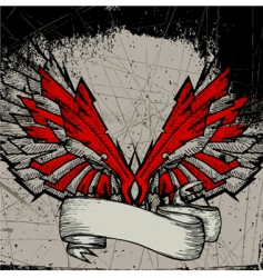 Grunge wing frame vector
