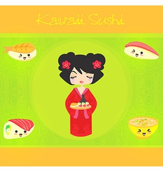 Kawaii cute sushi set vector