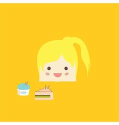 Cartoon doodle girl rectangle like cake vector